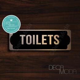 Toilets Sign for Door, Black Matt Vinyl on Brushed Copper Finish Metal